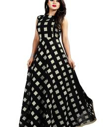 Black Chanderi Ankle Length A-Line Gown With American Crepe Inner (Full Inner)
