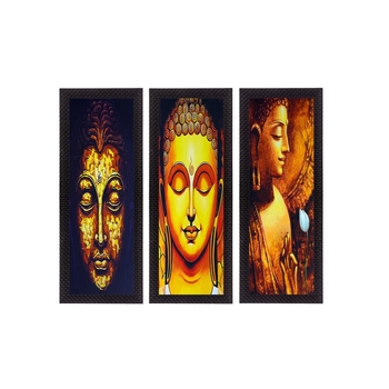 Set Of 3 Lord Buddha Satin Matt Texture UV Art Painting