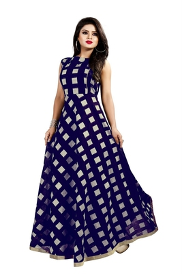 Blue Chanderi Ankle Length A-Line Gown With American Crepe Inner (Full Inner)