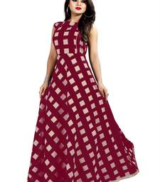 Brown Chanderi Ankle Length A-Line Gown With American Crepe Inner (Full Inner)