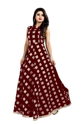 Chocolate Chanderi Ankle Length A-Line Gown With American Crepe Inner (Full Inner)