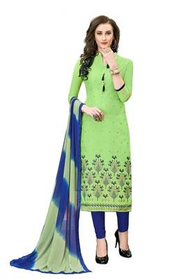 Woman Green Cotton Blend Embroidery Unstitched Salwar Kameez Dress Material