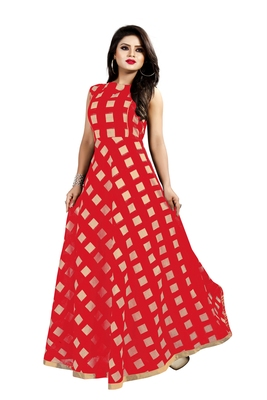Red Chanderi Ankle Length A-Line Gown With American Crepe Inner (Full Inner)