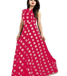 Pink Chanderi Ankle Length A-Line Gown With American Crepe Inner (Full Inner)