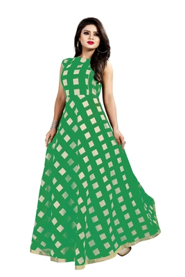 Green Chanderi Ankle Length A-Line Gown With American Crepe Inner (Full Inner)