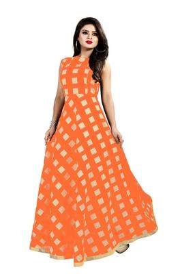 Orange Chanderi Ankle Length A-Line Gown With American Crepe Inner (Full Inner)