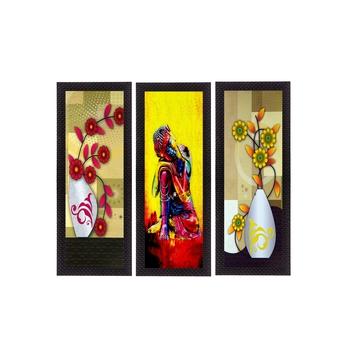 Set Of 3 Lord Buddha and Botanical Floral Satin Matt Texture UV Art Painting