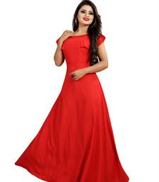 red plain crepe stitched party wear gown