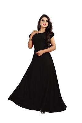 black plain crepe stitched party wear gown