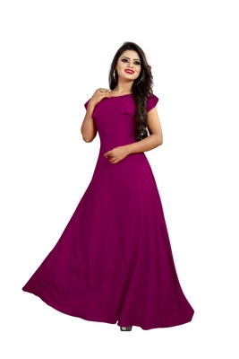 purple plain crepe stitched party wear gown