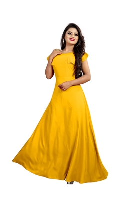 yellow plain crepe stitched party wear gown