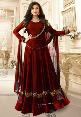 Red Embroidered Faux Georgette semi stitched Salwar with dupatta