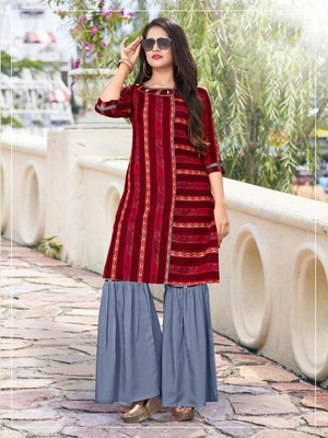 Multicolor abstract print rayon salwar
