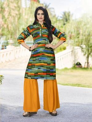 Multicolor abstract print rayon salwar