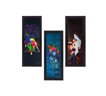 Set Of 3 Radha Krishna Satin Matt Texture UV Art Painting