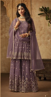 Purple embroidered net salwar