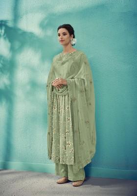 Olive embroidered cotton salwar