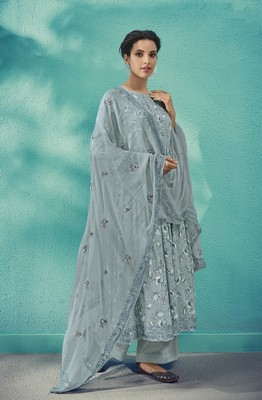 Light-grey embroidered cotton salwar
