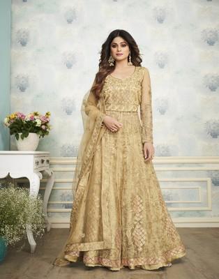 Golden embroidered net salwar