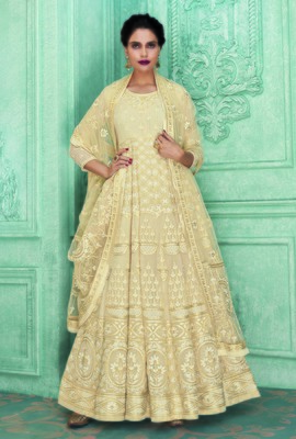 Cream embroidered georgette salwar