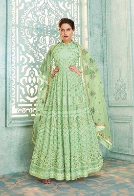 Light-parrot-green embroidered georgette salwar