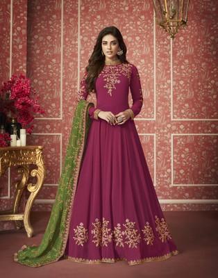 Rani-pink embroidered georgette salwar