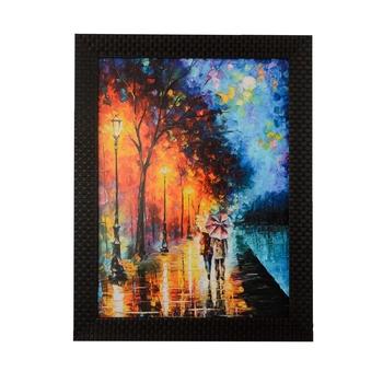 Love Couple Under Umbrella Satin Matt Texture UV Art Painting