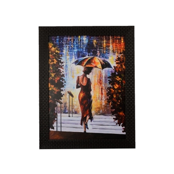 Beautiful Lady under Umbrella Satin Matt Texture UV Art Painting