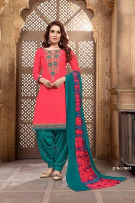 Coral embroidered cotton salwar