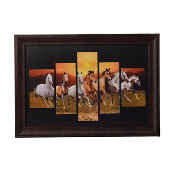 Lucky Running Horses 5 Cut Design Satin Matt Texture UV Art Painting