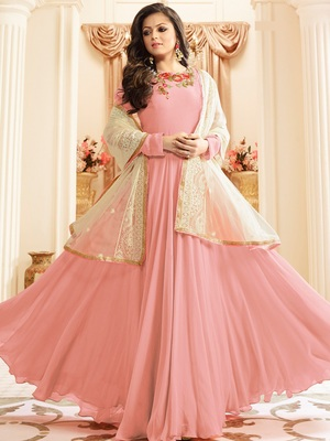 Pink Embroidered Faux Georgette semi stitched Salwar with dupatta