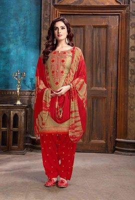 Golden embroidered cotton salwar