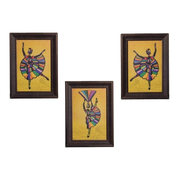 Set of 3 Dancing Girl Matt Texture UV Art Painting