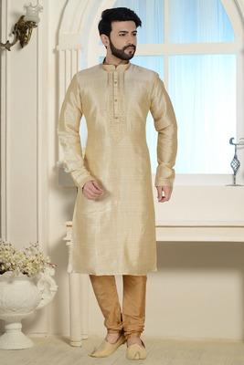 cream stylish silk kurta set