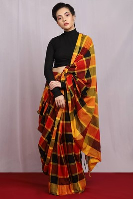 multicolor hand woven colourburst check Saree with blouse
