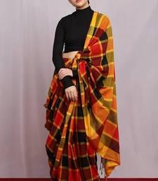 multicolor hand woven colourburst check Saree with blouse