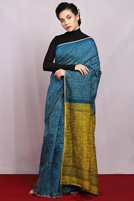 sea green woven Egyptian Print Saree with blouse