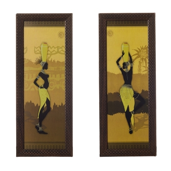 Set of 2 Tribal Lady Satin Matt Texture UV Art Painting