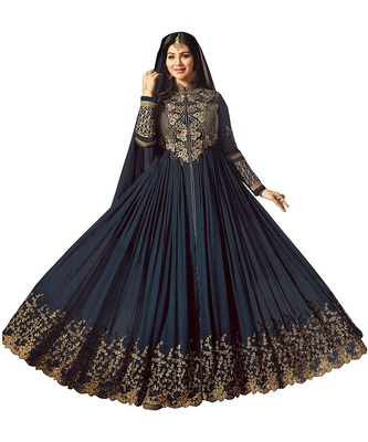 Navy blue Embroidered Faux Georgette semi stitched Salwar with dupatta