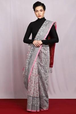 gery hand wovend Goddess Saree Glamorous with blouse
