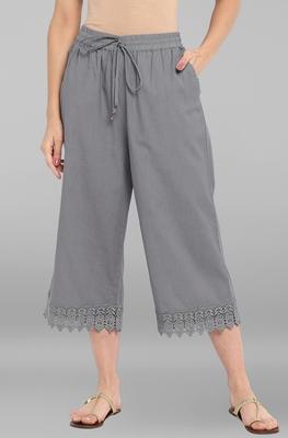 Women's Grey Cotton Schiffli Palazzo