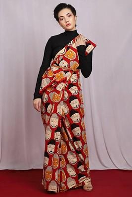 multicolor Peace Buddha Saree with blouse