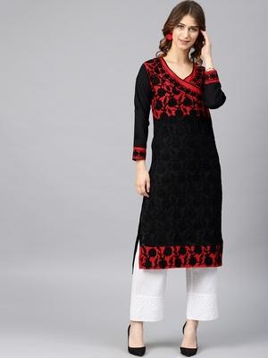 Red hand woven cotton chikankari-kurtis