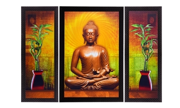 Set Of 3 Meditating Buddha Satin Matt Texture UV Art Painting