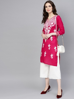 Hot-pink hand woven cotton chikankari-kurtis