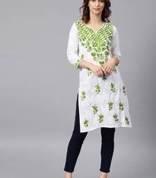 White hand woven cotton chikankari-kurtis
