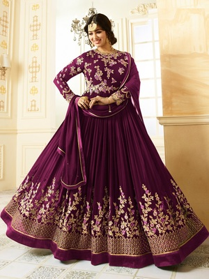 Purple Embroidered Faux Georgette semi stitched Salwar with dupatta