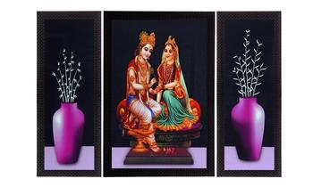 Set Of 3 Lord Krishna Radha and Flowers Satin Matt Texture UV Art Painting