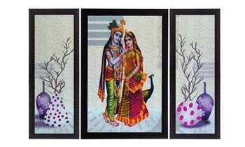 Set of 3 Floral and Radha Krishna Satin Matt Texture UV Art Painting