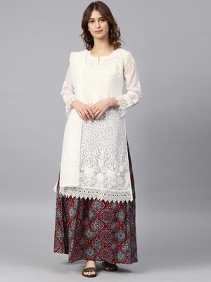 White hand woven georgette chikankari-kurtis